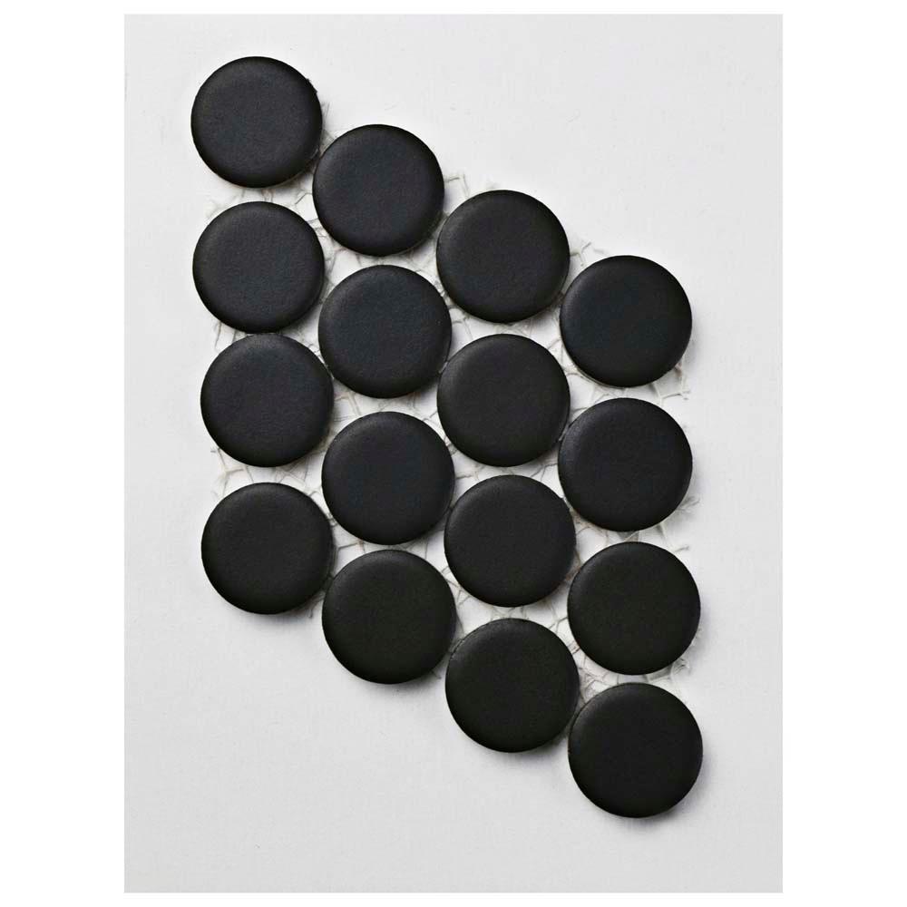 Hudson Penny Round Matte Black Porcelain Mosaic Tile - 3 in. x 4 in. Tile Sample