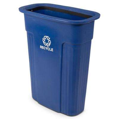 Slimline 23 Gal. Blue Rectangular Recycle Container with Recycle Symbol