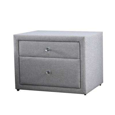 Morgana Upholstered Light-Gray Nightstand