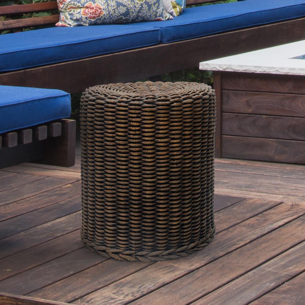 H Cast White Terracotta Stone Garden Carved Stool Patio Planter MPG 19-1//2 in
