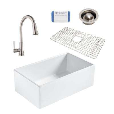 Single Kitchen Sinks Single kitchen sinks kitchen the home depot bradstreet ii all in one farmhouse fireclay 30 in single bowl kitchen sink workwithnaturefo