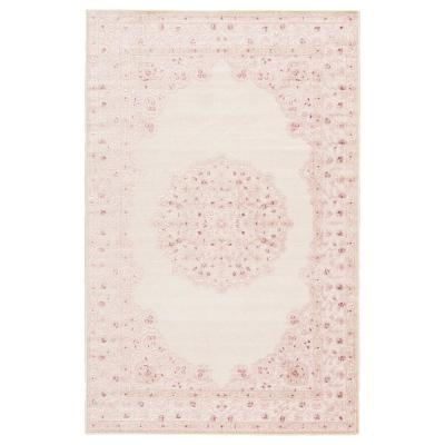 Machine Made Bright White 5 ft. x 8 ft. Medallion Area Rug