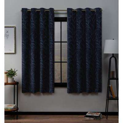 Kilberry 52 in. W x 63 in. L Woven Blackout Grommet Top Curtain Panel in Peacoat (2 Panels)