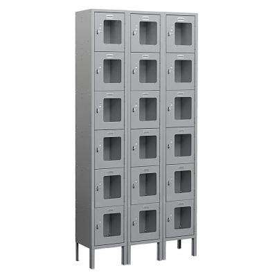 S-66000 Series 36 in. W x 78 in. H x 12 in. D 6-Tier Box Style See-Through Metal Locker Unassembled in Gray