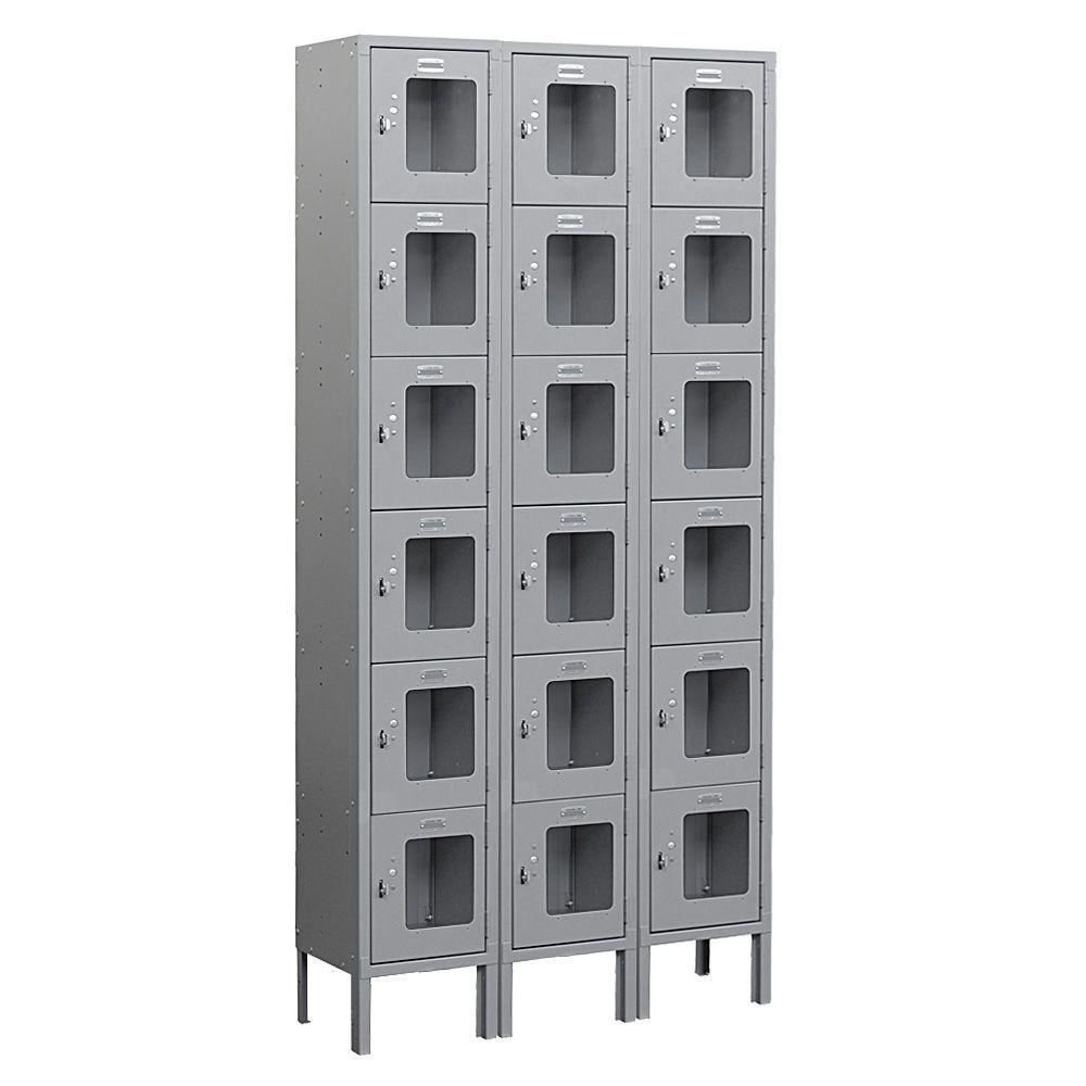 S-66000 Series 36 in. W x 78 in. H x 12 in. D 6-Tier Box Style See-Through Metal Locker Unassembled in Gray
