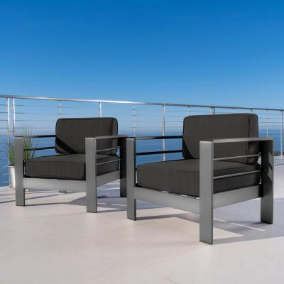 Valentina Grey Stationary Aluminum Outdoor Lounge Chair with Dark Grey Cushions (2-Pack)