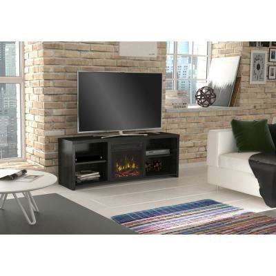 Shelter Cove 59.5 in. Media Console Electric Fireplace TV Stand in Black Walnut