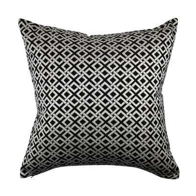 Black and White Geometric Link Throw Pillow