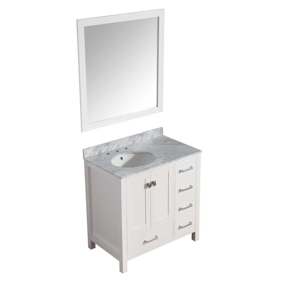 ANZZI Chateau 36 in. W x 22 in. D Vanity in White with Marble Vanity Top in Carrara White with White Basin and Mirror
