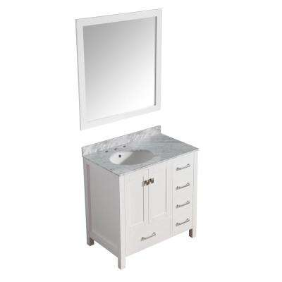 Chateau 36 in. W x 22 in. D Vanity in White with Marble Vanity Top in Carrara White with White Basin and Mirror