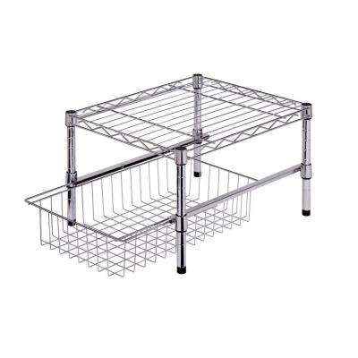11 in. H x 12 in. W x 18 in. D Adjustable Steel Shelf with Basket Cabinet Organizer in Chrome