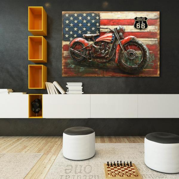 ''2 Wheels'' Mixed Media Iron Hand Painted Dimensional Wall Decor PMO-180126-4832