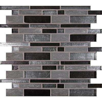Perspective Blend Interlocking 12 in. x 12 in. x 8 mm Glass and Stone Mesh-Mounted Mosaic Tile