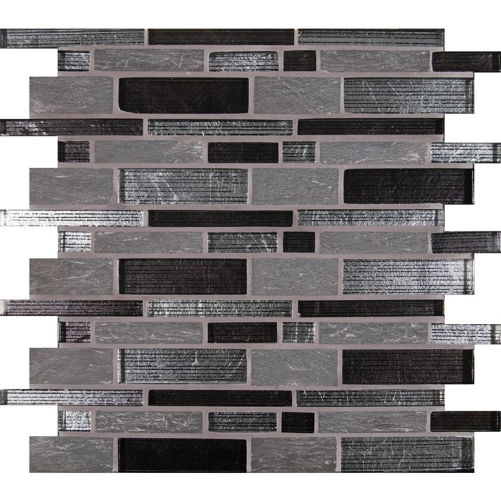Msi Perspective Blend Interlocking 12 In X 8 Mm Gl And Stone Mesh Mounted Mosaic Tile Sglsil Per8mm The Home Depot