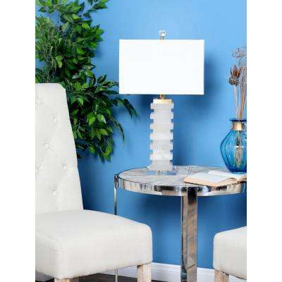 25 in. White Carved Marble Rectangular Table Lamp