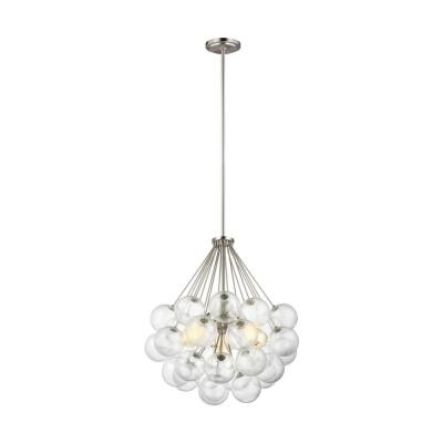 Bronzeville 3-Light Brushed Nickel Pendant with Seeded Glass Globes