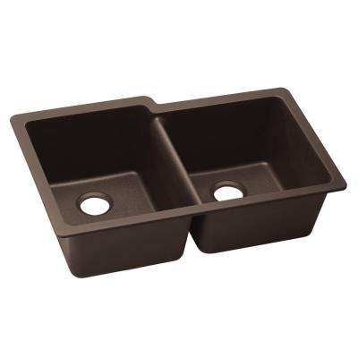 Quartz Luxe Undermount Composite 33 in. Square Offset Double Bowl Kitchen Sink in Chestnut