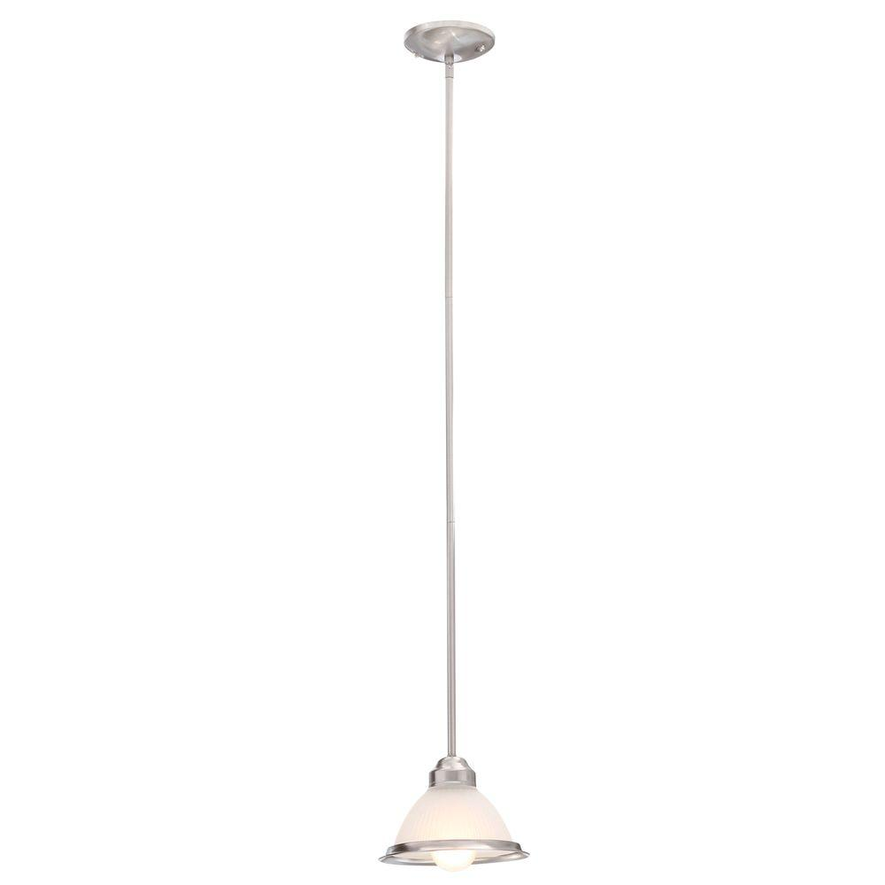 Commercial Electric Halophane 1-Light Brushed Nickel Mini Pendant with Frosted Ribbed Glass Shade