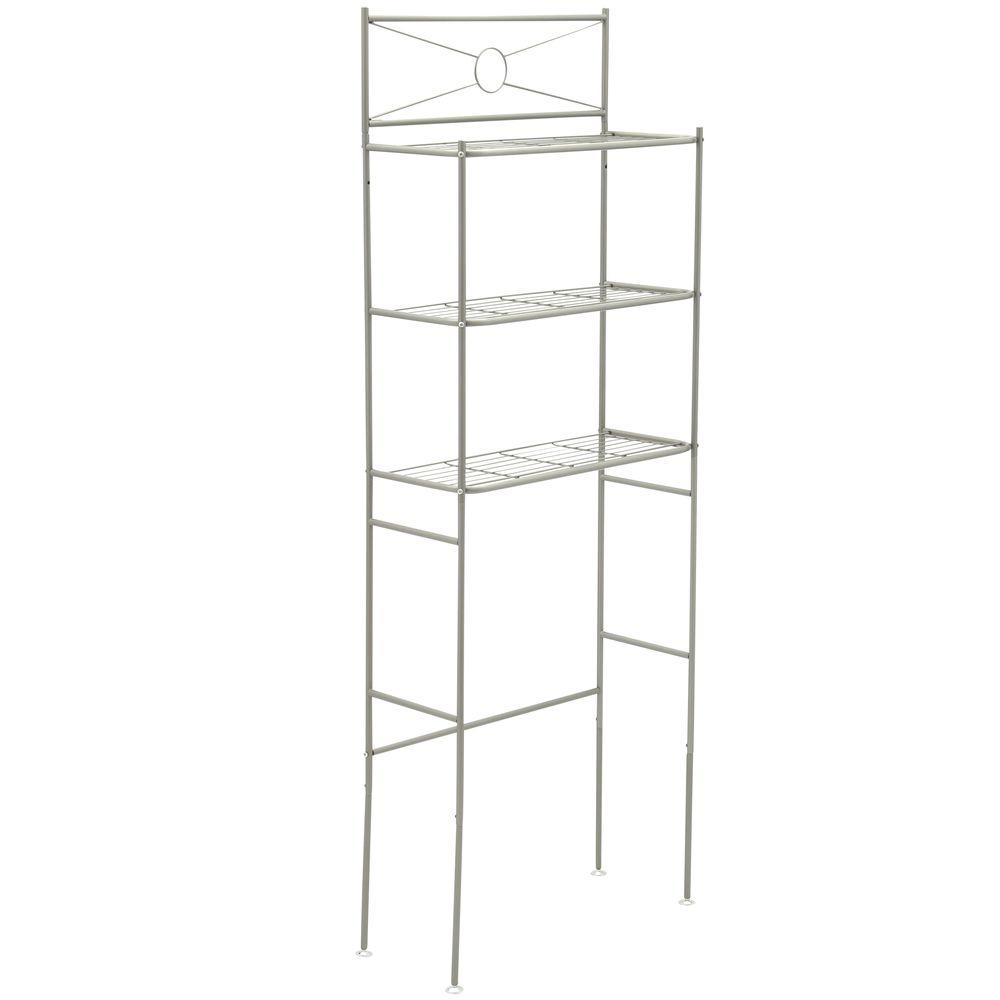 Zenna Home 23-3/5 in. W x 64-3/5 in. H x 12-1/2 in. Metal 3-Shelf Over the Toilet Storage Space Saver in Satin Nickel