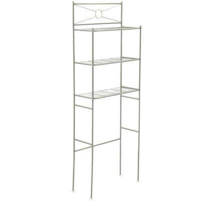 23-3/5 in. W x 64-3/5 in. H x 12-1/2 in. Metal 3-Shelf Over the Toilet Storage Space Saver in Satin Nickel