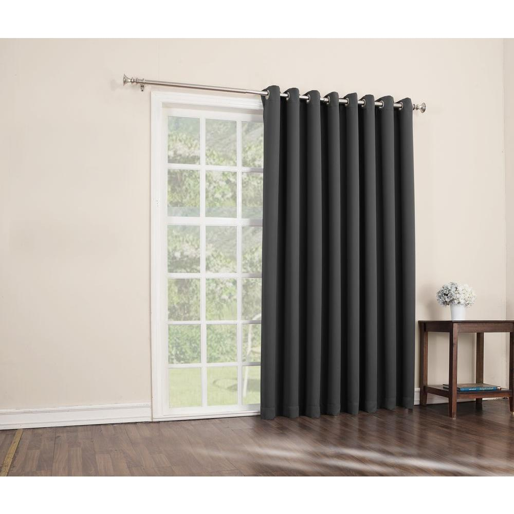 Good Sun Zero Blackout Gavin 84 In. L Extra Wide Blackout Patio Panel In Charcoal