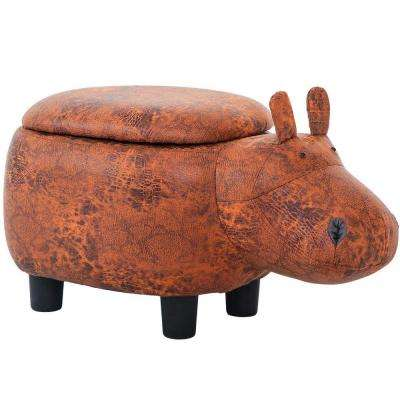 Animal-like Reddish Brown Storage Ottoman