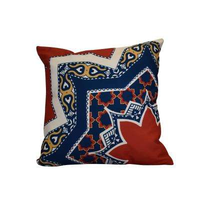 16 in. x 16 in. Rising Star, Geometric Print Pillow, Red