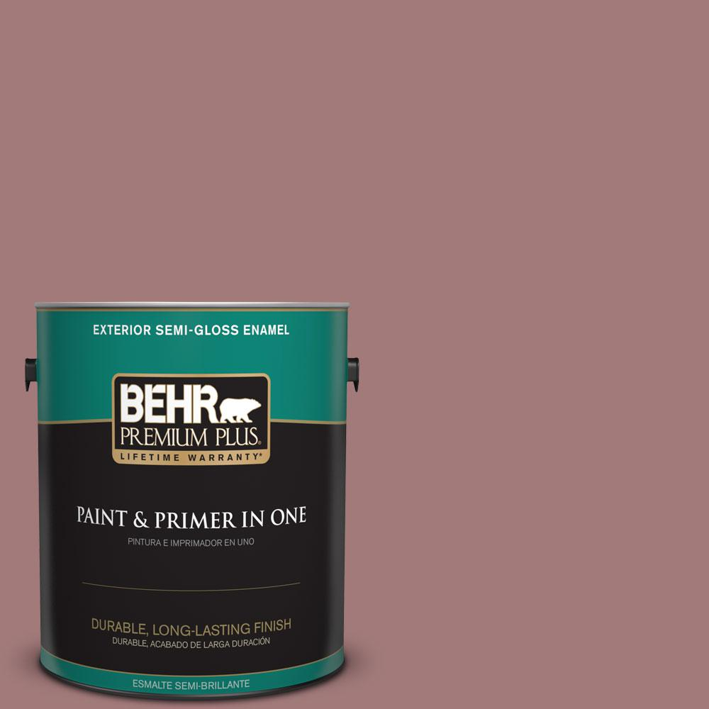 BEHR Premium Plus 1-gal. #ICC-108 Brandied Apple Semi-Gloss Enamel Exterior Paint