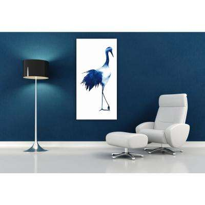 "48 in. x 24 in. ""Ink Drop Crane 1"" Frameless Free Floating Tempered Glass Panel Graphic Art"