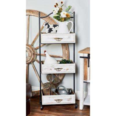 Distressed White Decorative 3-Tier Tray Stand with Antique Handles