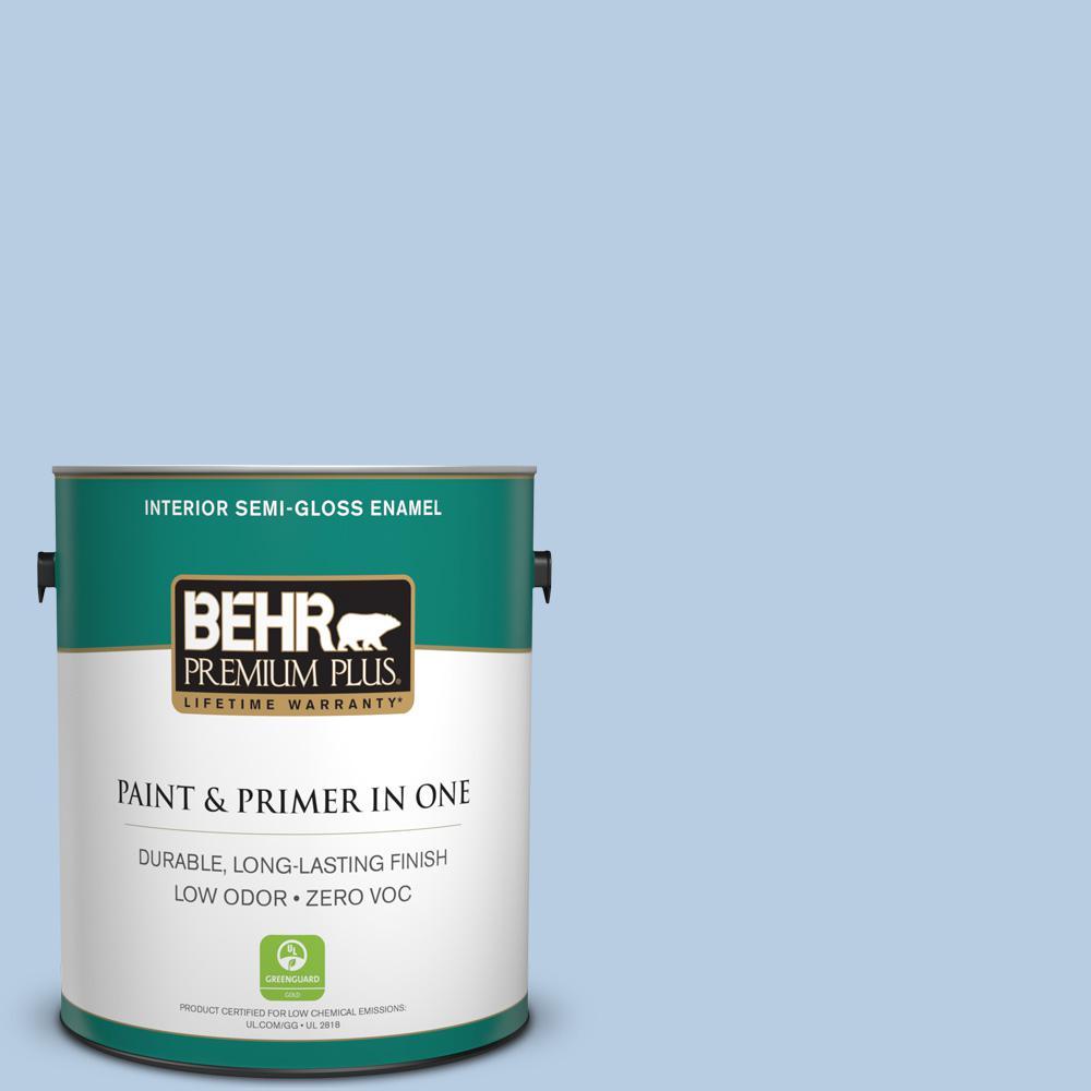 BEHR Premium Plus 1-gal. #580C-3 Impressionist Sky Zero VOC Semi-Gloss Enamel Interior Paint