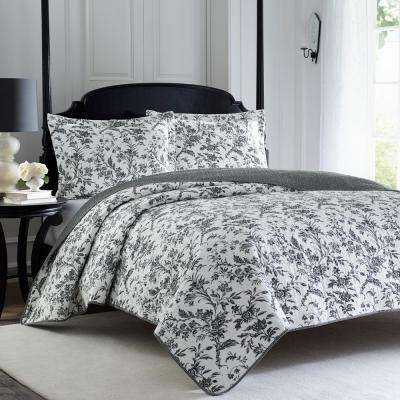 Amberley 3-Piece Black/White Full/Queen Quilt Set