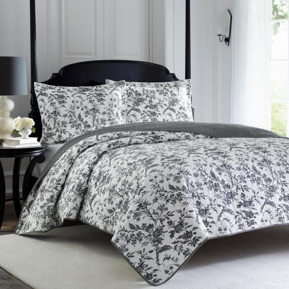 Laura Ashley Amberley 3-Piece Black/White Full/Queen Quilt Set 185741