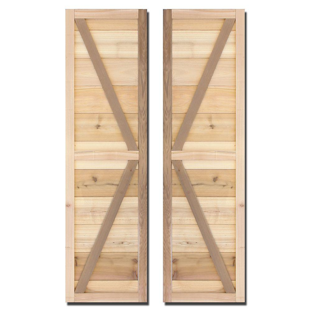 Design Craft MIllworks 15 in. x 64 in. Natural Cedar Board-N-Batten Adler Shutters Pair