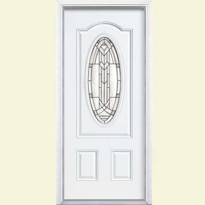 36 in. x 80 in. Chatham 3/4 Oval Right-Hand Inswing Painted Smooth Fiberglass Prehung Front Door w/ Brickmold