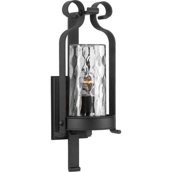 Hermosa Collection 1-Light Black 21 in. Outdoor Wall Lantern Sconce