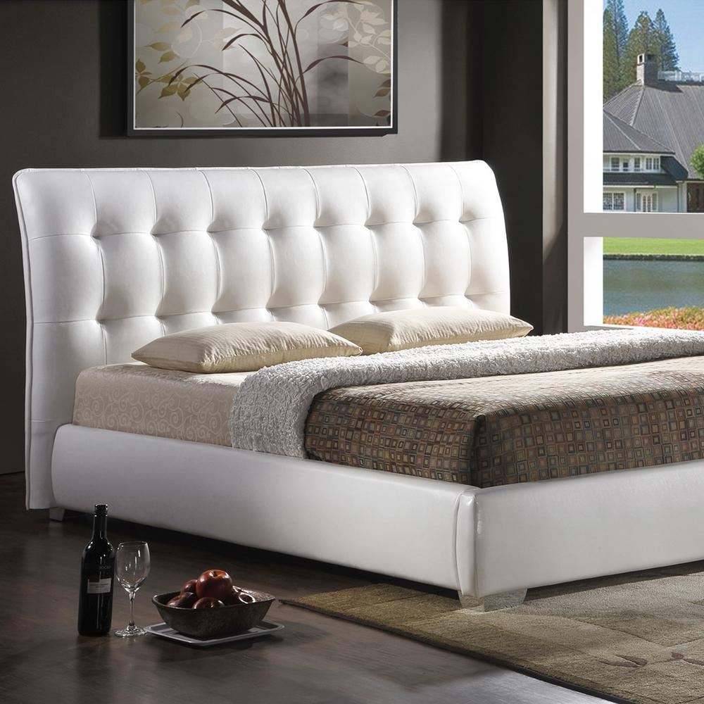Jeslyn Transitional White Faux Leather Upholstered King Size Bed