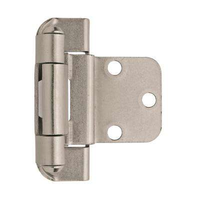 3/8 in  (10 mm) Satin Nickel Inset Self-Closing, Partial Wrap Hinge (2-Pack)