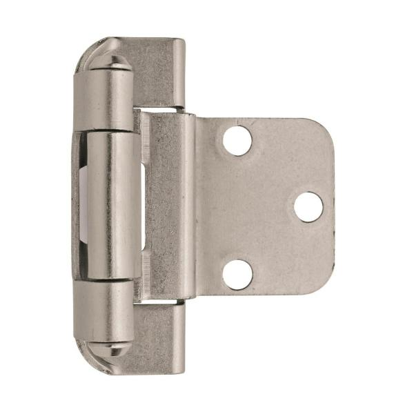3/8 in. (10 mm) Satin Nickel Inset Self-Closing, Partial Wrap Hinge (2-Pack)