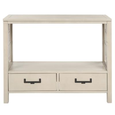 30 in. Beige with 2-Bottom Drawers Console Table
