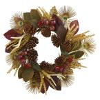 27in. Unlit Artifical Holiday Wreath with Magnolia Leaf, Berry, Antler and Peacock Feather