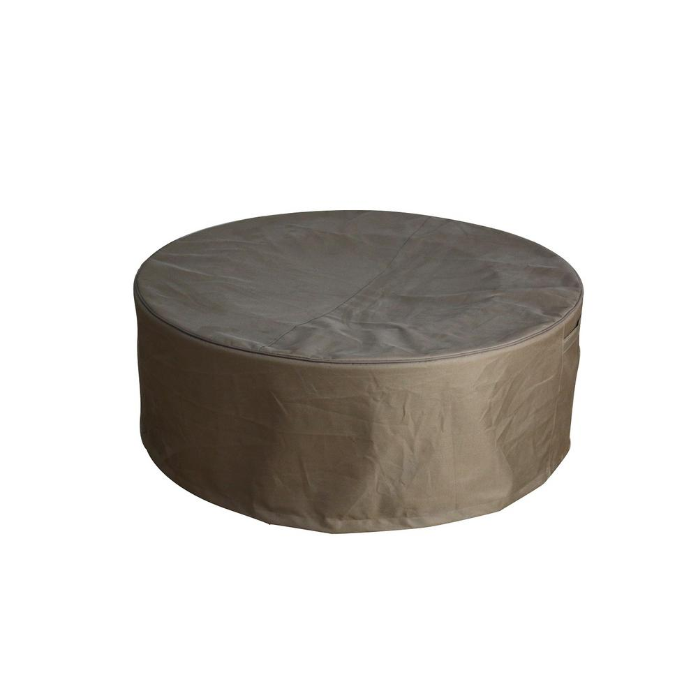 Khaki Round Waterproof Canvas Outdoor Fire Pit Table Cover