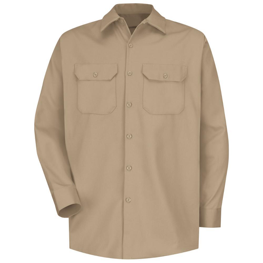 2e2faa80 Red Kap Men's Medium Khaki Deluxe Heavyweight Cotton Shirt-SC70KH RG ...