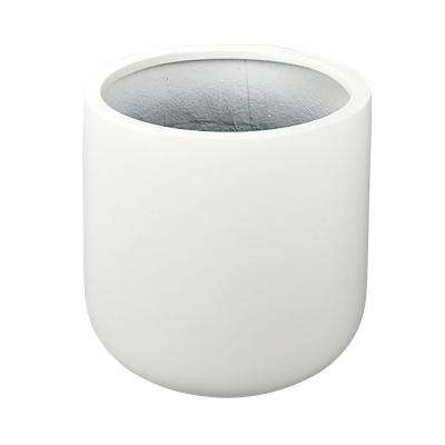 17 in. x 17 in. White Fiberglass Round Bottom Planter