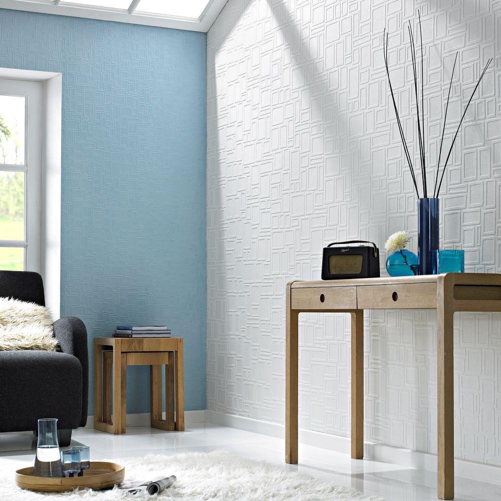 Squares Paintable White Wallpaper