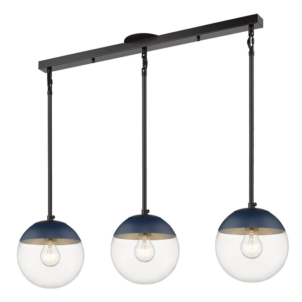 Golden Lighting Dixon 3-Light Linear Pendant in Black with Clear Glass and Navy Cap