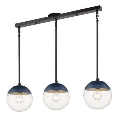 Dixon 3-Light Linear Pendant in Black with Clear Glass and Navy Cap