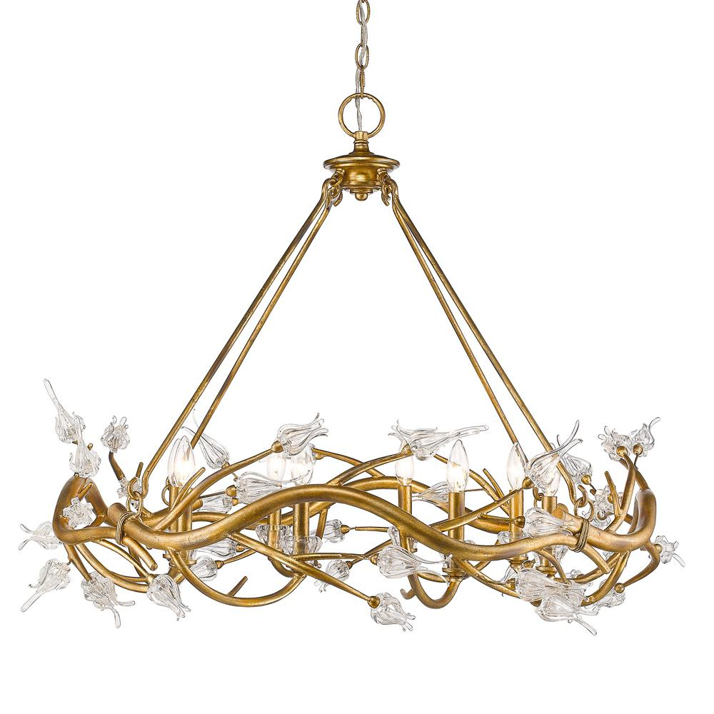 Golden lighting aiyana 8 light gold leaf chandelier with clear golden lighting aiyana 8 light gold leaf chandelier with clear glass flower shades arubaitofo Choice Image