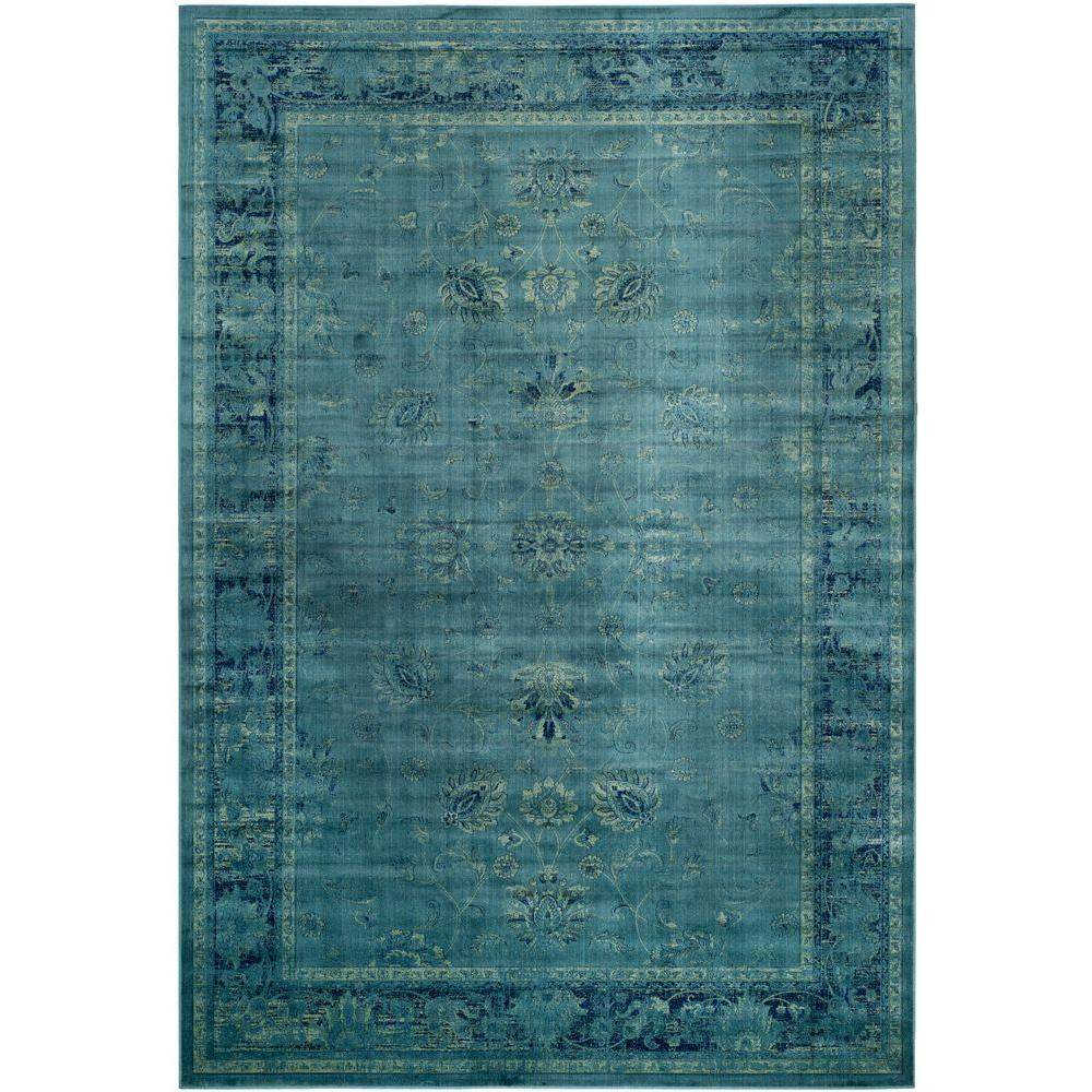 Safavieh Vintage Turquoise And Multi Colored Area Rug: Safavieh Vintage Turquoise/Multi 10 Ft. X 14 Ft. Area Rug