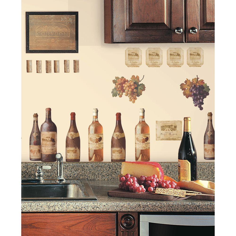 Unbranded 18 in. x 40 in. Wine Tasting 56-Piece Peel and Stick Wall Decals RMK1257SCS